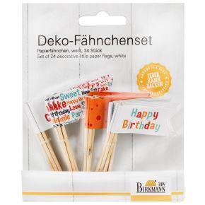 Deko-Fähnchenset | Happy Birthday, Weiß