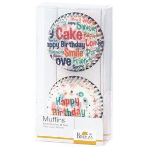Muffin-Papierförmchen | Happy Birthday, Weiß