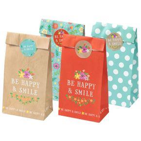 Papiergeschenktüten-Set   Be Happy & Smile