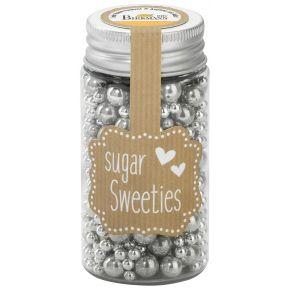 Zuckerperlen-Mix | Silber, 4 - 8 mm